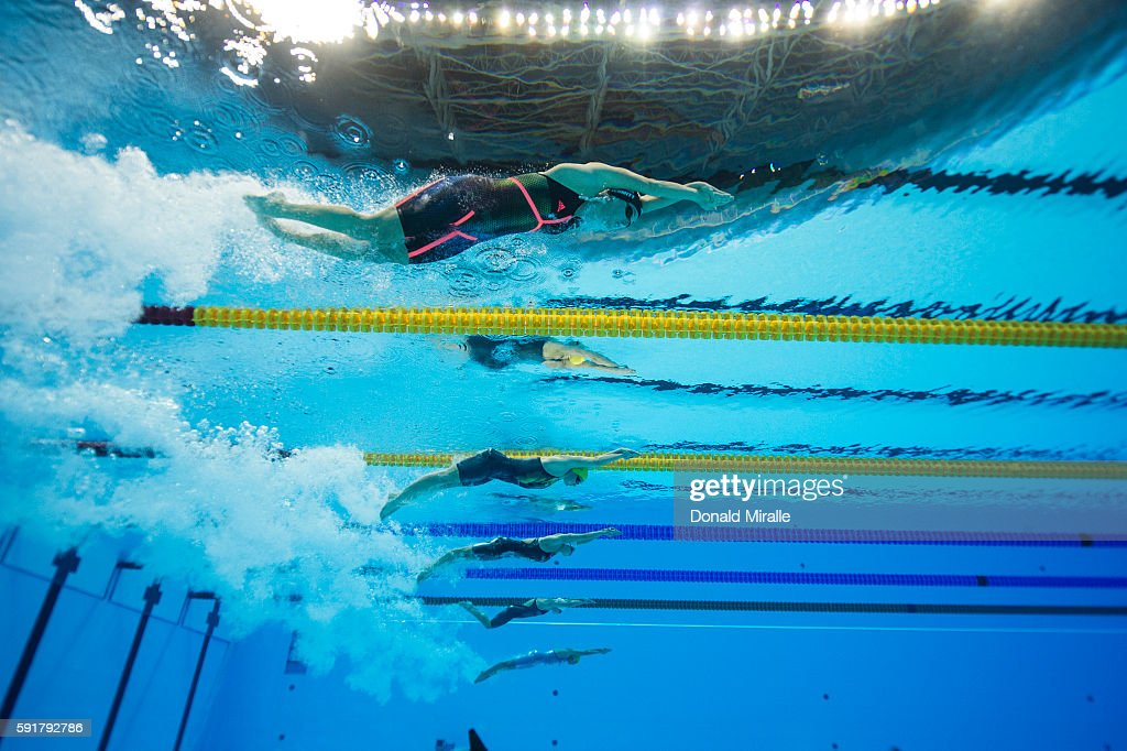 underwater view of usa allison schmitt and competitors in action during the womens 4x200m freestyle relay