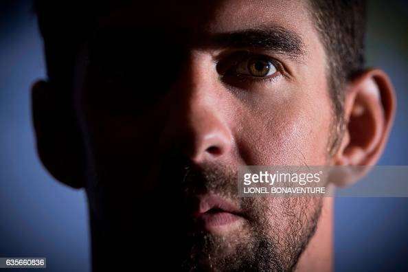 TOPSHOT US swimming champion Michael Phelps is pictured during a press conference at the Molitor swimming pool on February 16 2017 in Paris / AFP /...