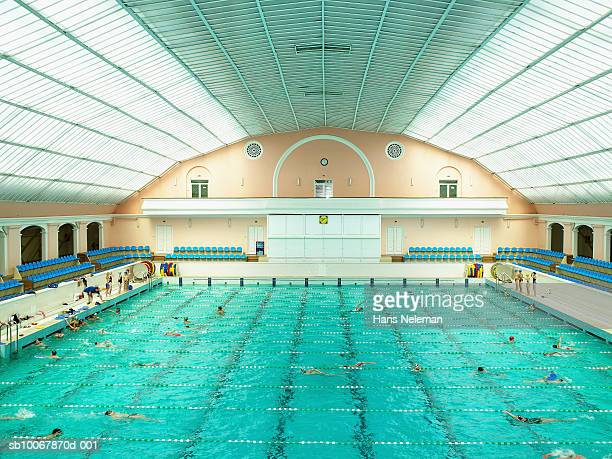 Swimming competition, elevated view