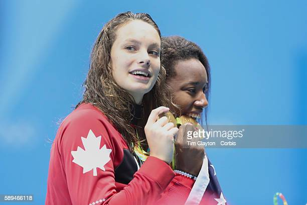 Day 6 Simone Manuel of the United States who dead heated with Penny Oleksiak of Canada to both win the gold medal in the Women's 100m Freestyle Final...