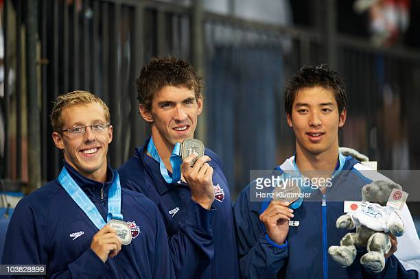 Pan Pacific Championships USA Tyler McGill USA Michael Phelps and Japan Takuro Fujii victorious after winning Men's 100M Butterfly Final medal at...