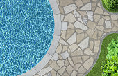 swimming pool and garden detail in top view