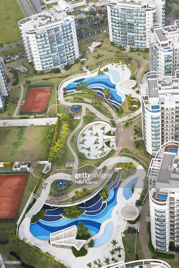 Swimming pool & apartments, Rio de Janeiro; Brazil : Stock Photo