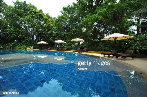 swimming pool at a tropical resort. : Stock Photo