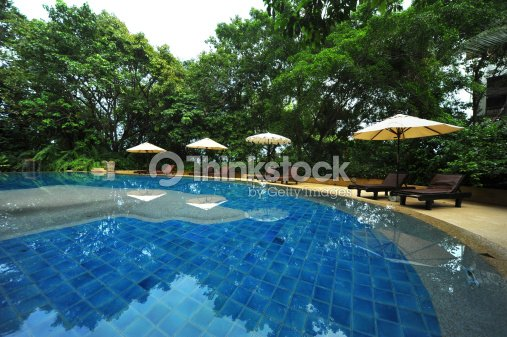 swimming pool at a tropical resort. : Stock Photo