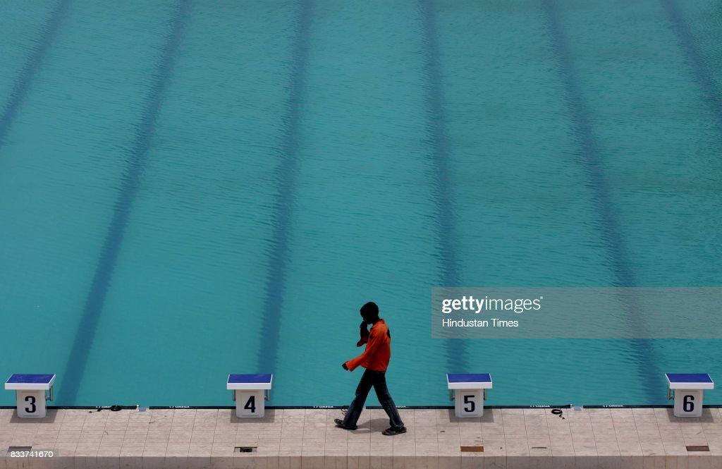 Swimming pool at Shiva Chhatrapati Krida Sankul Balewadi Pune on Saturday.