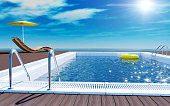 Blue swimming pool with yellow life ring floating on water surface, beach lounger on wooden flooring with parasol, sun deck on sea view for summer vacation, 3D rendering