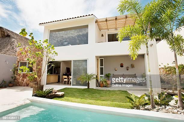 Swimming pool in backyard of modern home