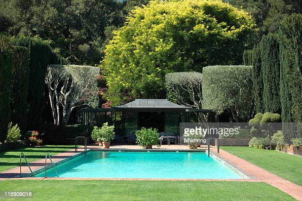 swimming pool in formal garden