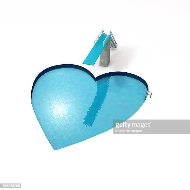 Swimming pool in heart shape