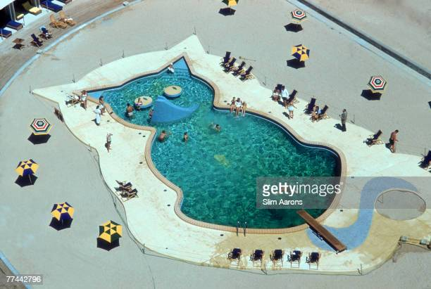 A swimming pool in the shape of a cat at the Fontainebleau Hotel Miami circa 1955