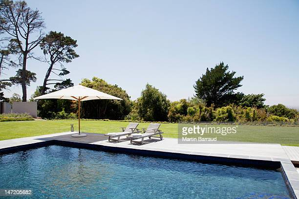 Swimming pool, lounge chairs and umbrella