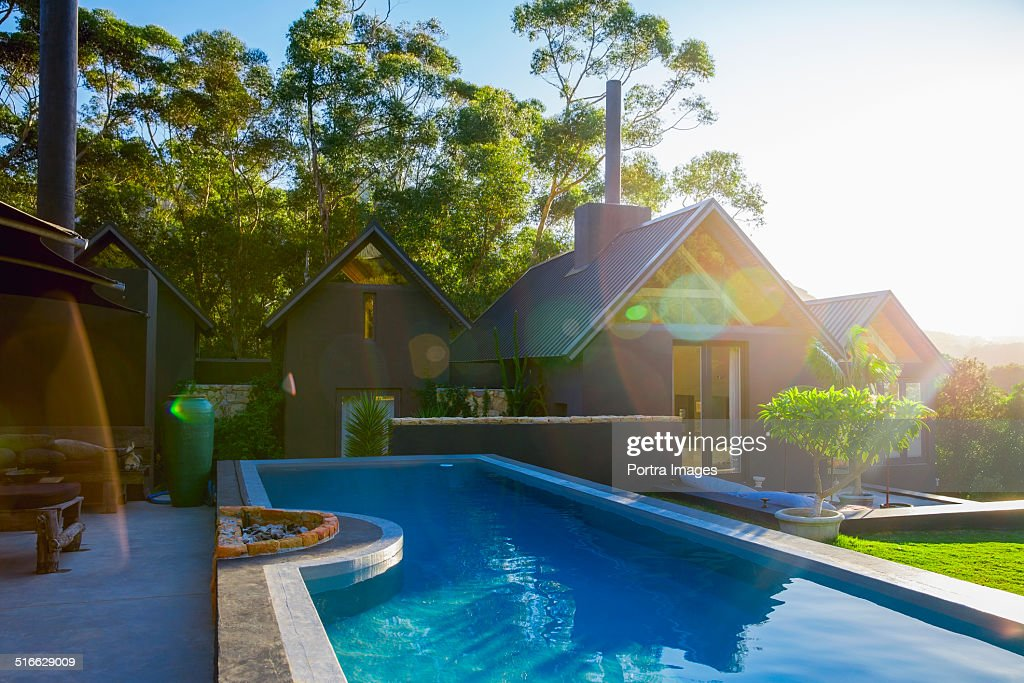 Swimming pool outside resort : Stock Photo
