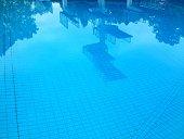 Die Sprunganlagen spiegeln sich im Wasser