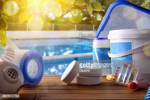 Swimming pool service and equipment with swimming pool background : Photo