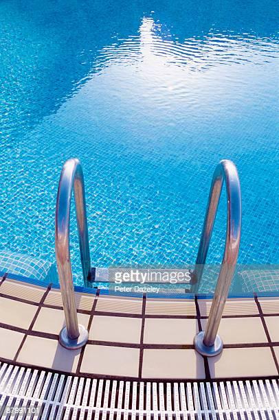 Swimming pool steps.
