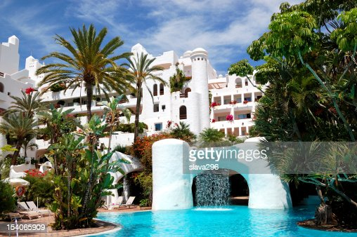Swimming Pool With Waterfall And Building Of Luxury Hotel Tenerife