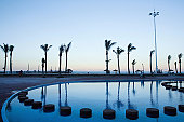 Swimming pools and palm trees on beachfront, Durban, KwaZulu-Natal Province, South Africa