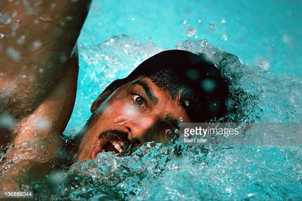 Swimming Summer Games Preview Closeup portrait of USA Mark Spitz in action during photo shoot Beverly Hills CA 10/1/1975 CREDIT Neil Leifer