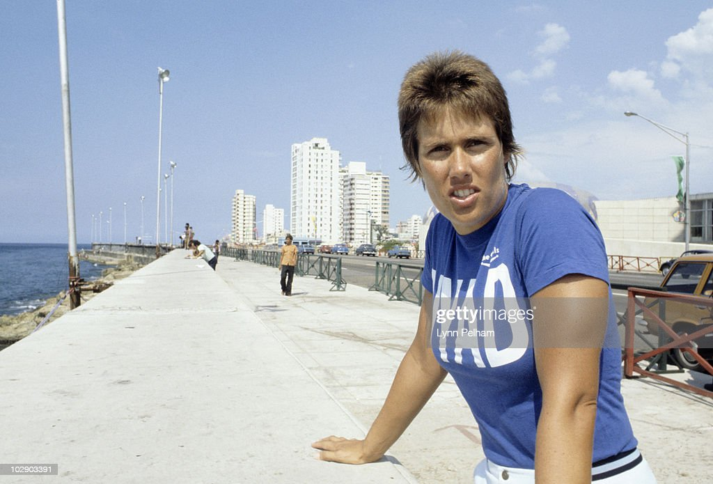The Cuba to Florida Swim Portrait of Diana Nyad before attempt to swim from Cuba to United States on oceanfront avenue Malecon Havana Cuba 8/13/1978...