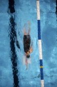 US Olympic Trials Aerial view of Missy Franklin in action during Women's 100M Backstroke Final at CenturyLink Center Omaha NE CREDIT Robert Beck