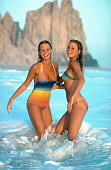 Swimsuit Issue 1976 Models Yvonne Sylander and Yvette Sylander pose for the 1976 Sports Illustrated Swimsuit issue on November 21 1975 in Punta Baja...
