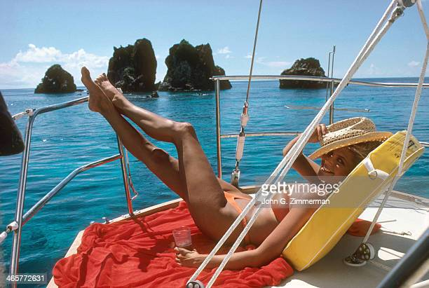 Swimsuit Issue 1980 Model Christie Brinkley is photographed for the 1980 Sports Illustrated Swimsuit issue on November 23 1979 in Tortola US Virgin...