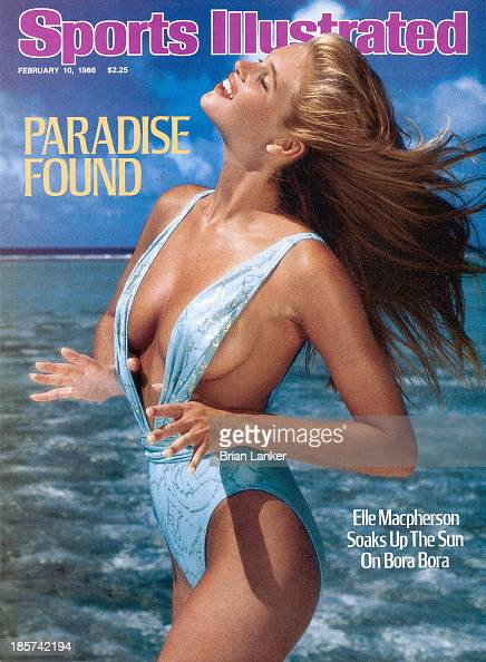 Swimsuit Issue 1986 Model Elle Macpherson poses for the 1986 Sports Illustrated swimsuit issue in 1986 in BoraBora French Polynesia COVER IMAGE...