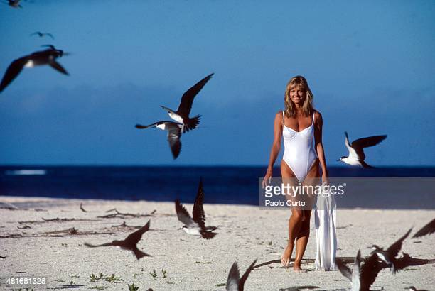 Swimsuit Issue 1989 Model Cheryl Tiegs poses for the 1989 Sports Illustrated Swimsuit issue on July 31 1988 on La Digue Seychelles PUBLISHED IMAGE...