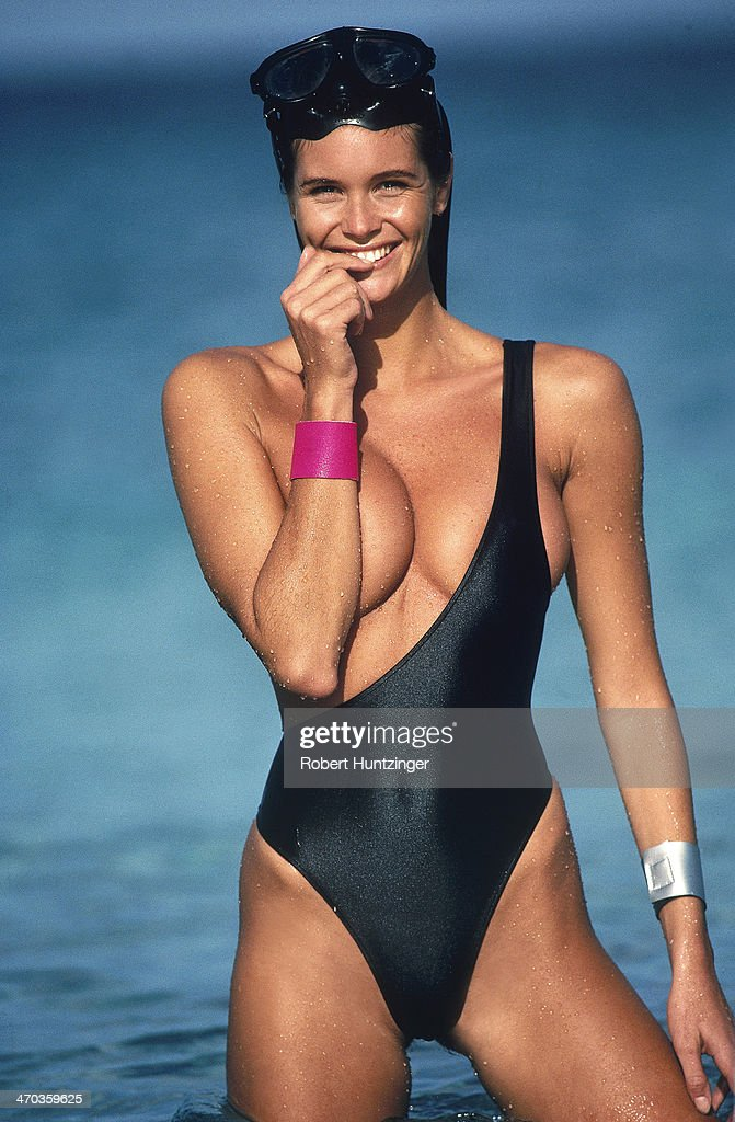 Swimsuit issue 1990: Model Elle Macpherson poses for the 1990 Sports Illustrated Swimsuit issue on January 19, 1990 on Argyle Beach in Saint Vincent and The Grenadines.