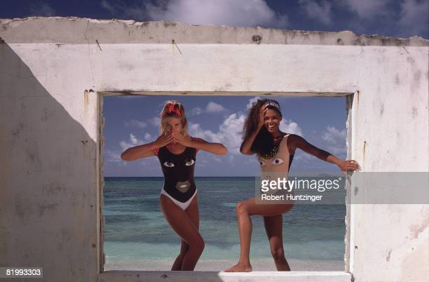 Swimsuit Issue 1990 Models Judit Masco and Akure Wall pose for the 1990 Sports Illustrated Swimsuit issue on January 19 1990 on Argyle Beach in...
