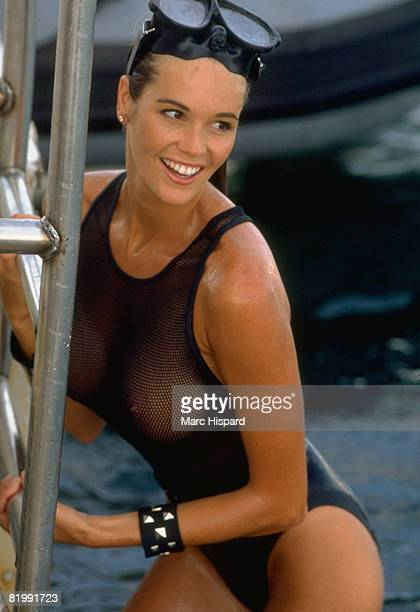 Swimsuit Issue 1991 Model Elle Macpherson poses for the 1991 Sports Illustrated Swimsuit issue on February 1 1991 in the Caribbean Sea and Indian...