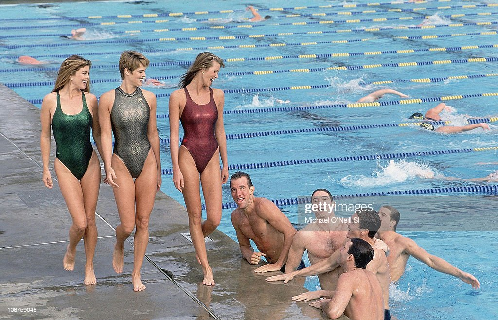Model <a gi-track='captionPersonalityLinkClicked' href=/galleries/search?phrase=Kathy+Ireland&family=editorial&specificpeople=213018 ng-click='$event.stopPropagation()'>Kathy Ireland</a>, US Olympic swimmer <a gi-track='captionPersonalityLinkClicked' href=/galleries/search?phrase=Dara+Torres&family=editorial&specificpeople=2419430 ng-click='$event.stopPropagation()'>Dara Torres</a> - Gowen and model Elle Macpherson with US Water Polo team at Canyonview Aquatics Center of UC San Diego, in San Diego, California on February 01, 1994.