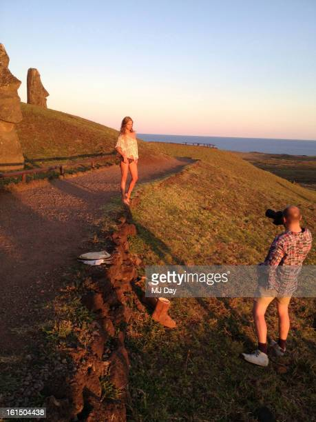 Swimsuit Issue 2013 Behind the scenes of the 2013 Sports Illustrated Swimsuit issue on October 29 2012 on Easter Island Chile Pictured model Jessica...