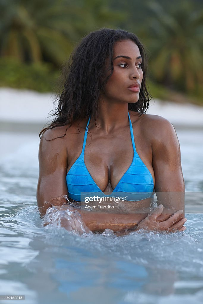 Swimsuit Issue 2014: Basketball player <a gi-track='captionPersonalityLinkClicked' href=/galleries/search?phrase=Skylar+Diggins&family=editorial&specificpeople=5791961 ng-click='$event.stopPropagation()'>Skylar Diggins</a> poses for the 2014 Sports Illustrated Swimsuit issue on November 20, 2013 on Guana Island. PUBLISHED IMAGE.