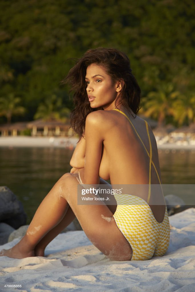 Model Cris Urena poses for the 2014 Sports Illustrated Swimsuit issue on December 7, 2013, on Saint Lucia. Body painting by Joanne Gair. PUBLISHED IMAGE.