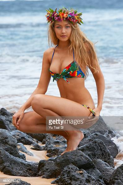Swimsuit Issue 2015 Model Gigi Hadid poses for the 2015 Sports Illustrated Swimsuit issue on April 22 2014 in Kauai Hawaii Swimsuit by Maui Girl by...