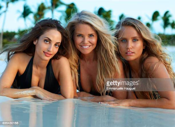 Singer Alexa Ray Joel and models Christie Brinkley and Sailor Brinkley Cook pose for the 2017 Sports Illustrated swimsuit issue on September 12 2016...