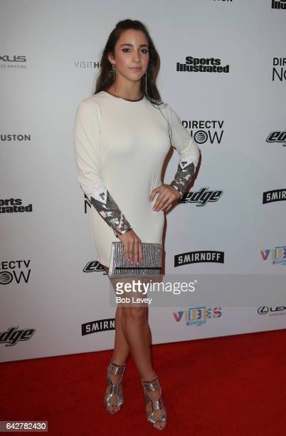 Swimsuit model Aly Raisman at the VIBES by Sports Illustrated Swimsuit 2017 launch festival at Post HTX on February 18 2017 in Houston Texas