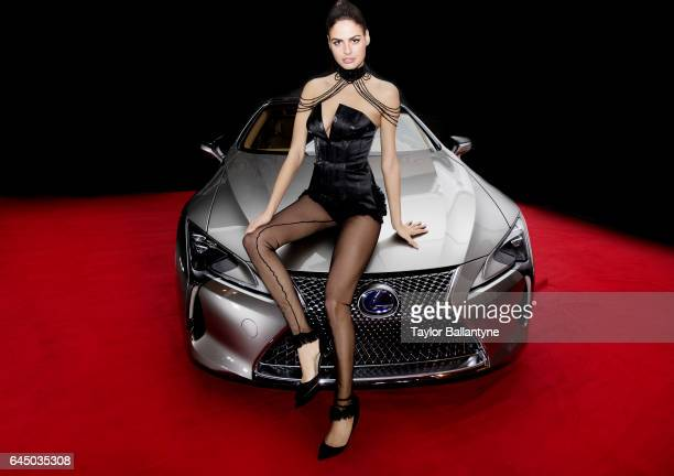 SI Launch Week Portrait of Bo Krsmanovic posing on Lexus car during SI Swimsuit Vibes event at The Post HTX Houston TX CREDIT Taylor Ballantyne