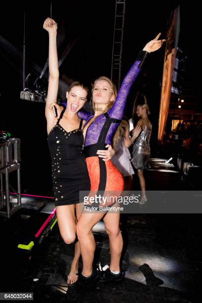 SI Launch Week View of Hailey Clauson and Sailor Brinkley Cook dancing during SI Swimsuit Vibes Festival at The Post HTX Houston TX CREDIT Taylor...
