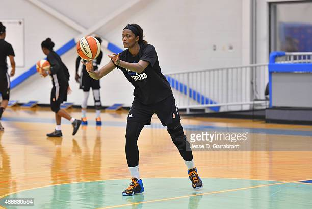 Swin Cash of the New York Liberty practice at the New York Knicks training facility on September 17 2015 in Tarrytown New York NOTE TO USER User...