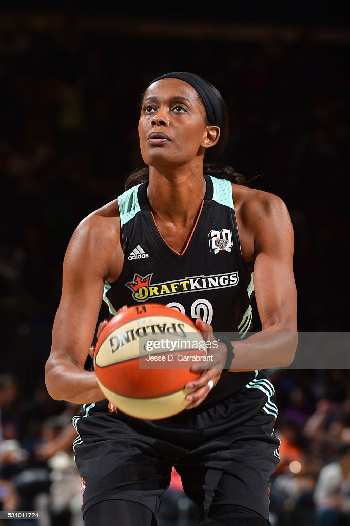 <a gi-track='captionPersonalityLinkClicked' href=/galleries/search?phrase=Swin+Cash&family=editorial&specificpeople=202486 ng-click='$event.stopPropagation()'>Swin Cash</a> #32 of the New York Liberty shoots a free throw on May 24, 2016 at Madison Square Garden in New York City, New York.