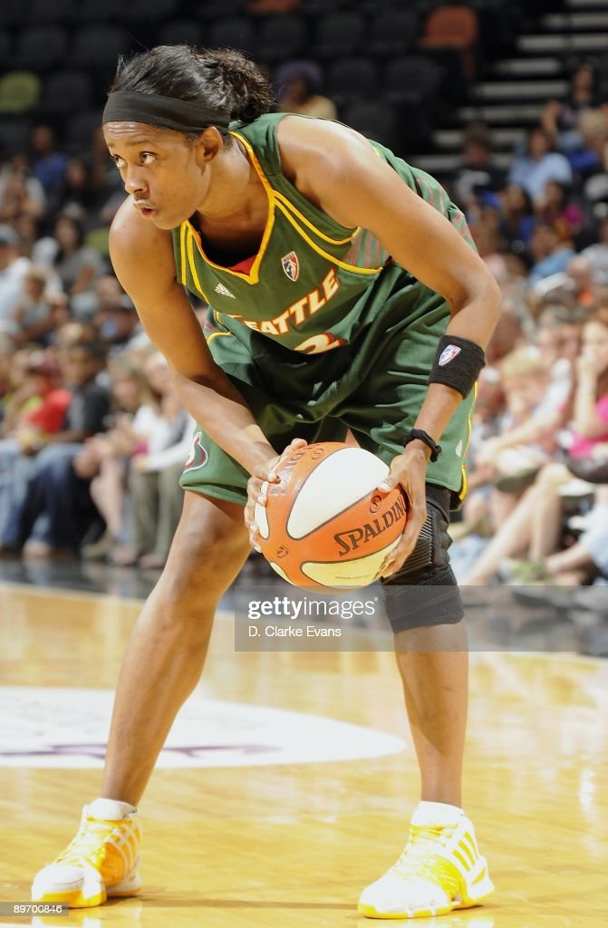 Swin Cash of the Seattle Storm looks to move the ball against the San Antonio Silver Stars during the game on July 28 2009 at the ATT Center in San...