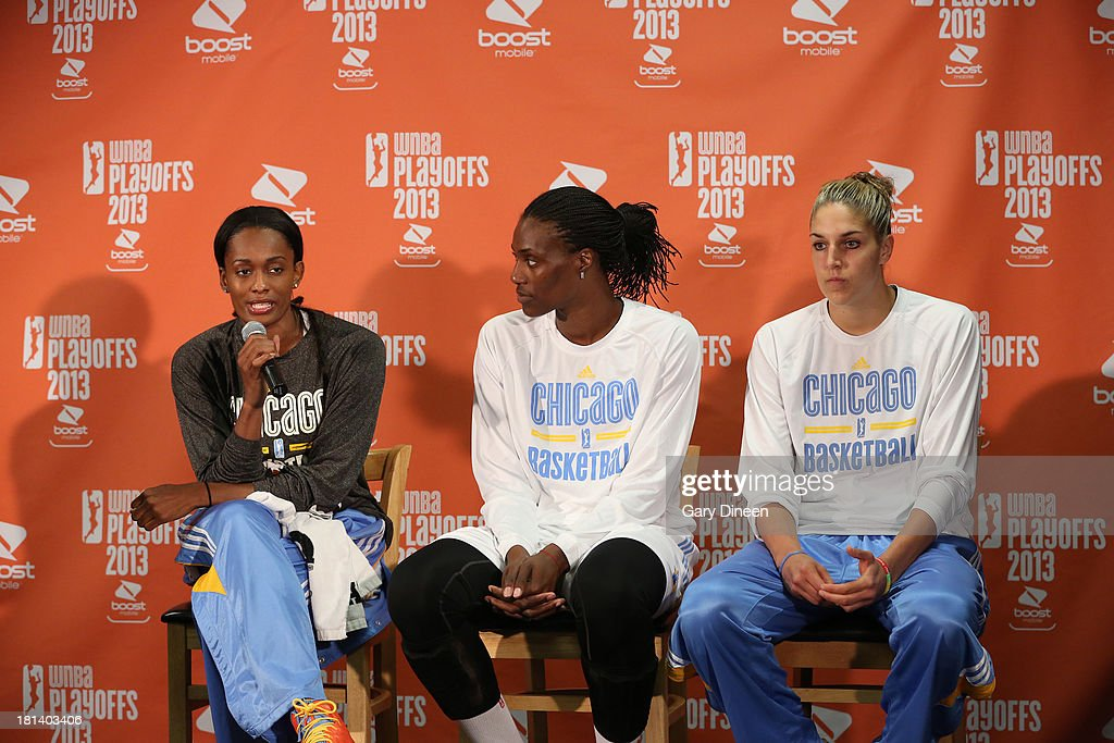 Swin Cash #8, Sylvia Fowles #34 and Elena Delle Donne #11 of the Chicago Sky respond to questions from the media during a press conference to honor the trio with the 2013 WNBA Rookie of the Year award, the 2013 WNBA Defensive Player of the Year award on September 20, 2013 at the Allstate Arena in Rosemont, Illinois.
