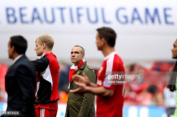 Swindon manager Paolo Di Canio looks dejected during the Johnstone's Paint trophy Final between Swindon Town and Chesterfield at Wembley Stadium on...