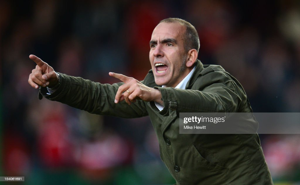 Swindon manager <a gi-track='captionPersonalityLinkClicked' href=/galleries/search?phrase=Paolo+Di+Canio&family=editorial&specificpeople=215237 ng-click='$event.stopPropagation()'>Paolo Di Canio</a> makes a point during the npower League One match between Swindon Town and Coventry City at County Ground on October 13, 2012 in Swindon, England.