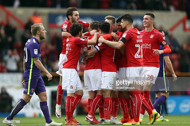 Swindon Town celebrate after an own goal by Charlton gave them a 10 lead during the Sky Bet League One match between Swindon Town and Charlton...