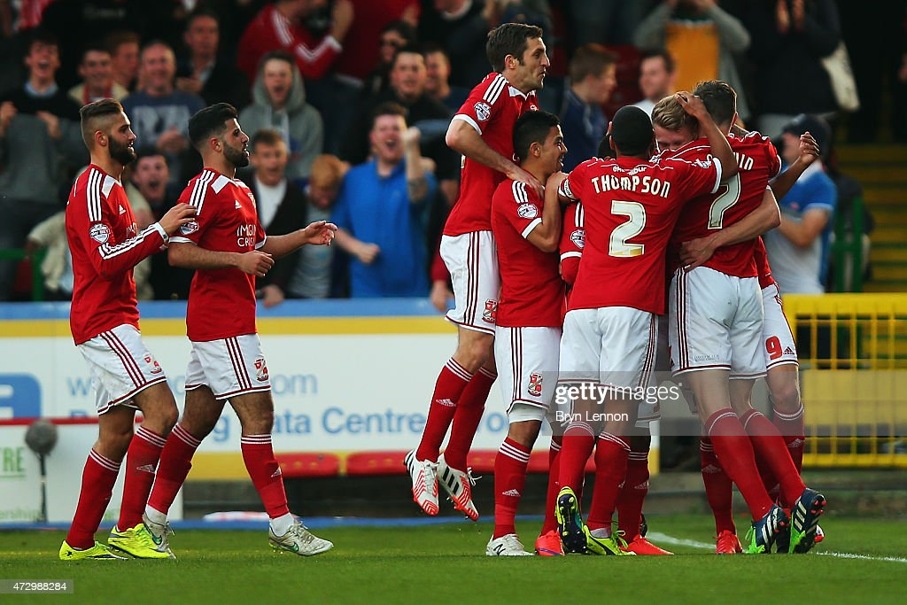 Swindon Town celebrate scoring during the Sky Bet League 1 Playoff SemiFinal between Swindon Town and Sheffiled United at County Ground on May 11...