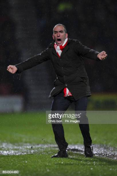 Swindon Town manager Paolo Di Canio celebrates the equalizer during the npower Football League One match at Goldsands Stadium Bournemouth PRESS...